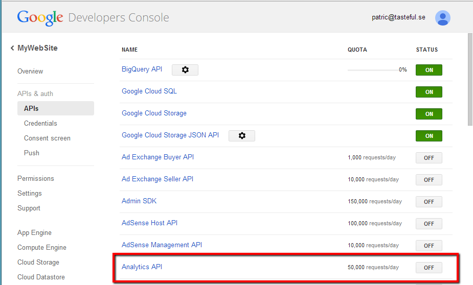 google-enable-analytics-api